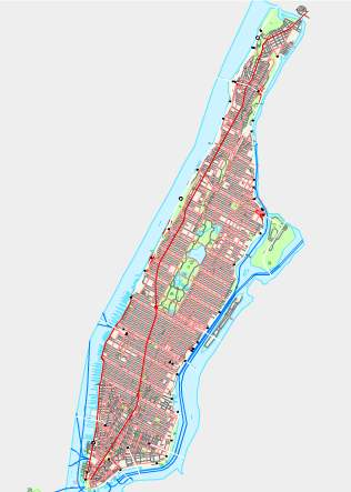 city map of New York City - Manhattan