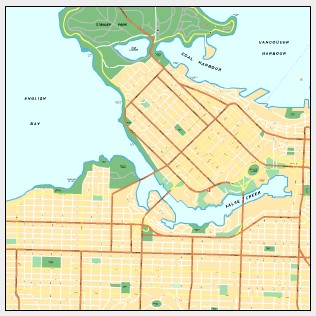 city map of Vancouver