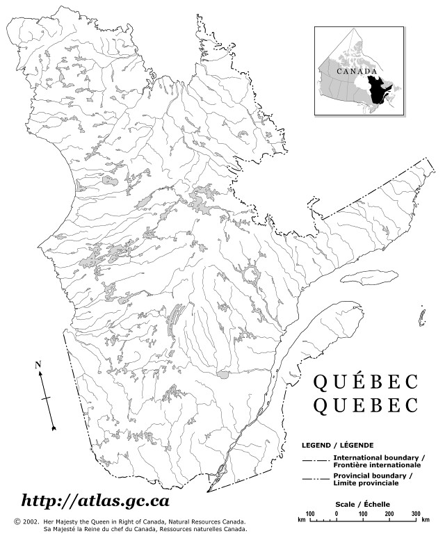 Physical Quebec Map