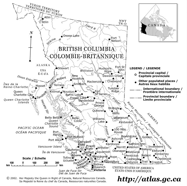 British Columbia Outline Map - Map of northeastern us and canada