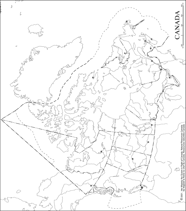 Blank Map Of Canada With Lakes And Rivers.Canada Outline Map