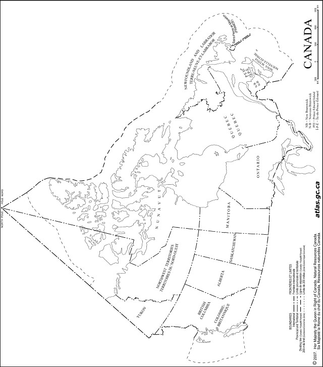 Worksheet. Canada Outline Map
