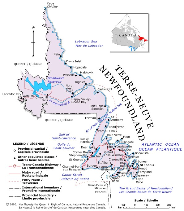 political map of quebec canada. Newfoundland Political Map