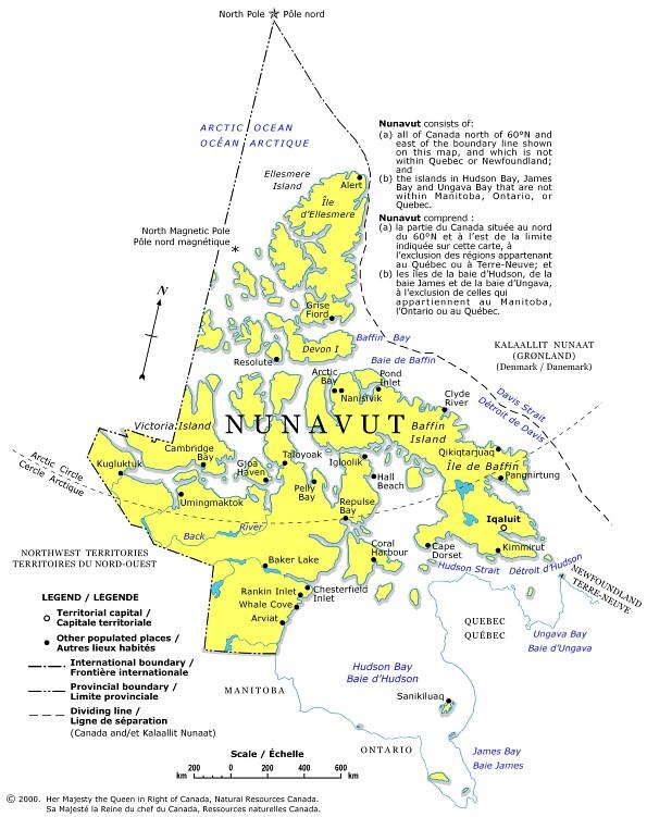 map of nunavut canada. Canada. Canada in Nunavut Map