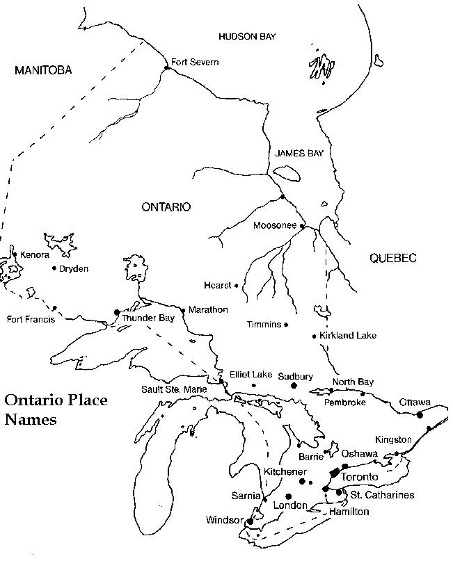 image about Printable Map of Canada named Ontario Printable Map
