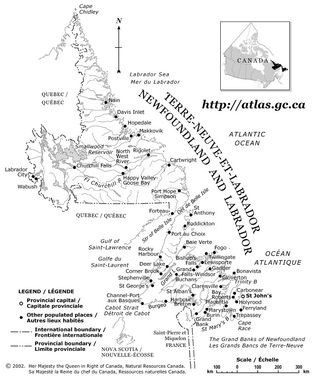 Newfoundland Reference Map - Newfoundland map