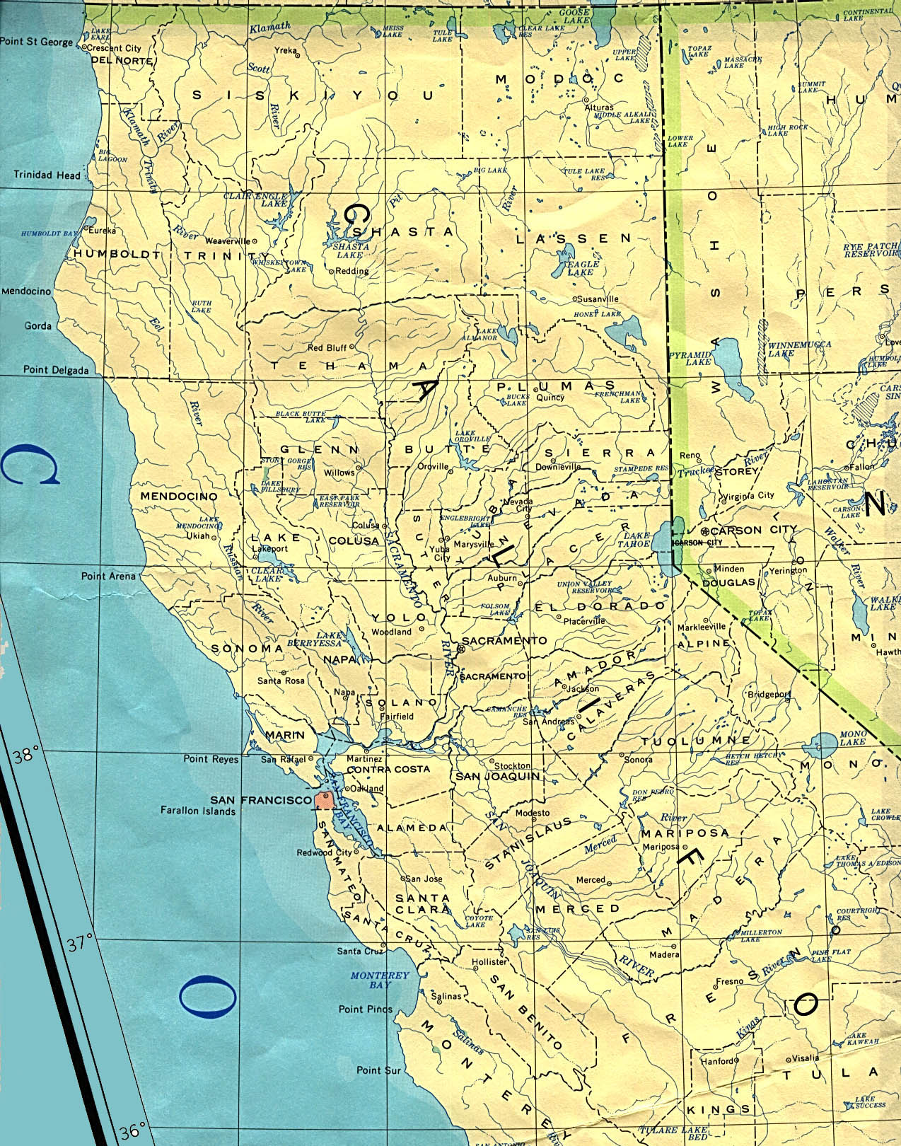 Elevation Map Of Northern California | California Map