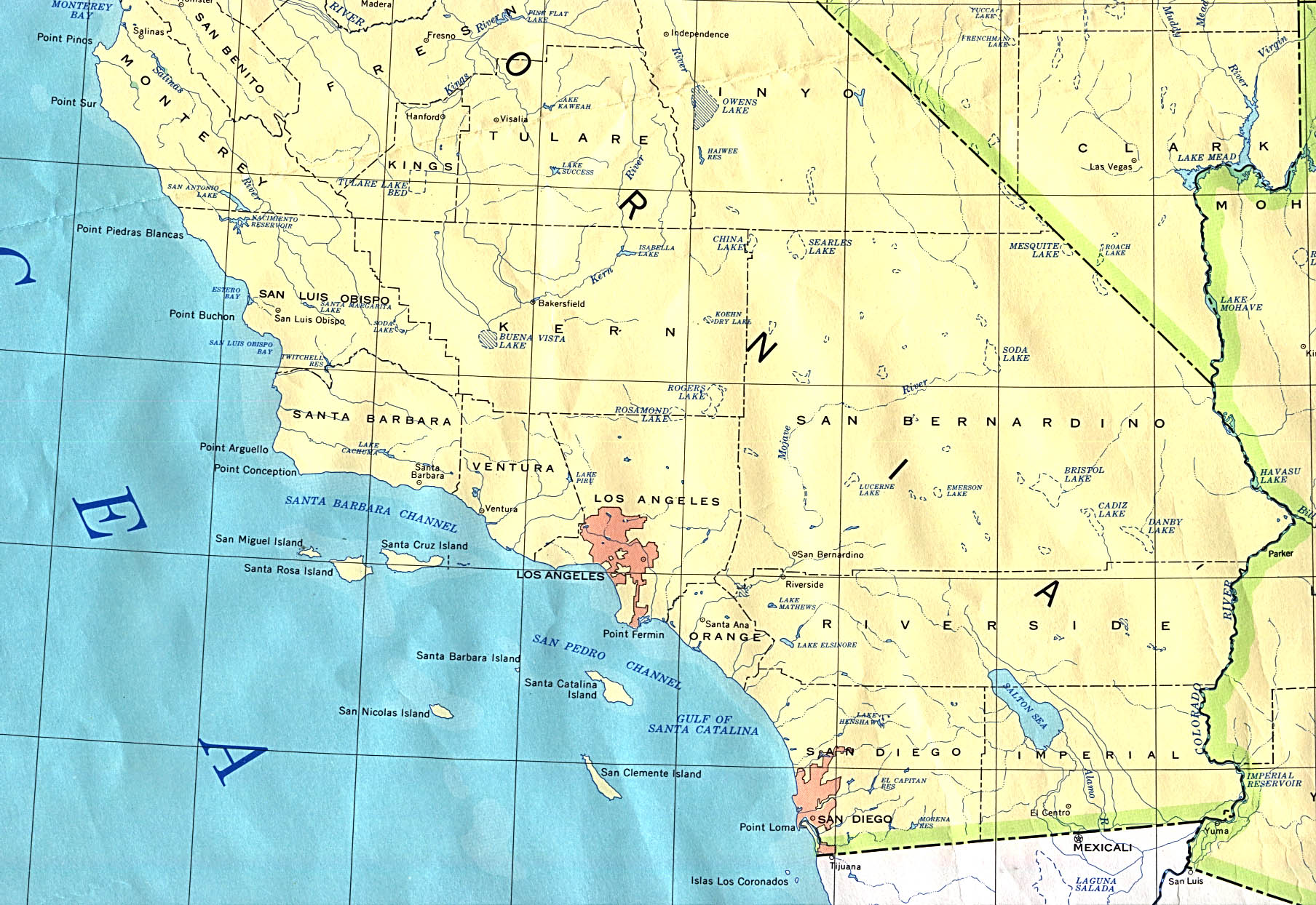 This is a graphic of Printable Map of Southern California regarding highway