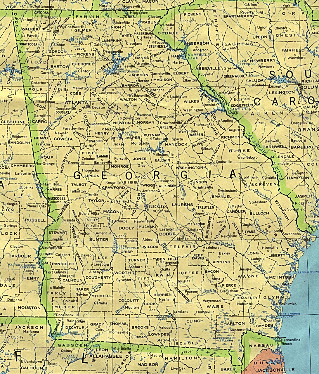 Georgia Map Of Counties And Cities