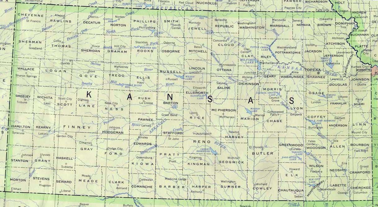 Kansas Base Map - Kansas us map