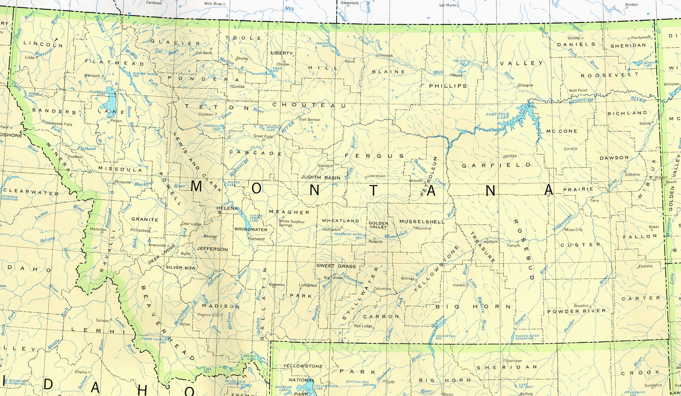 Montana Base Map - Map of montana cities