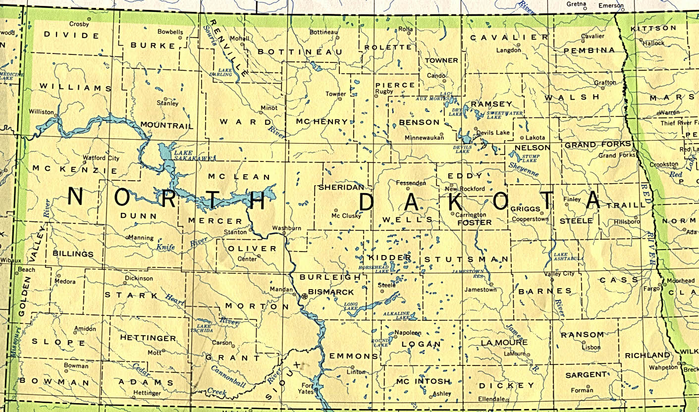 North Dakota Base Map - North dakota map usa