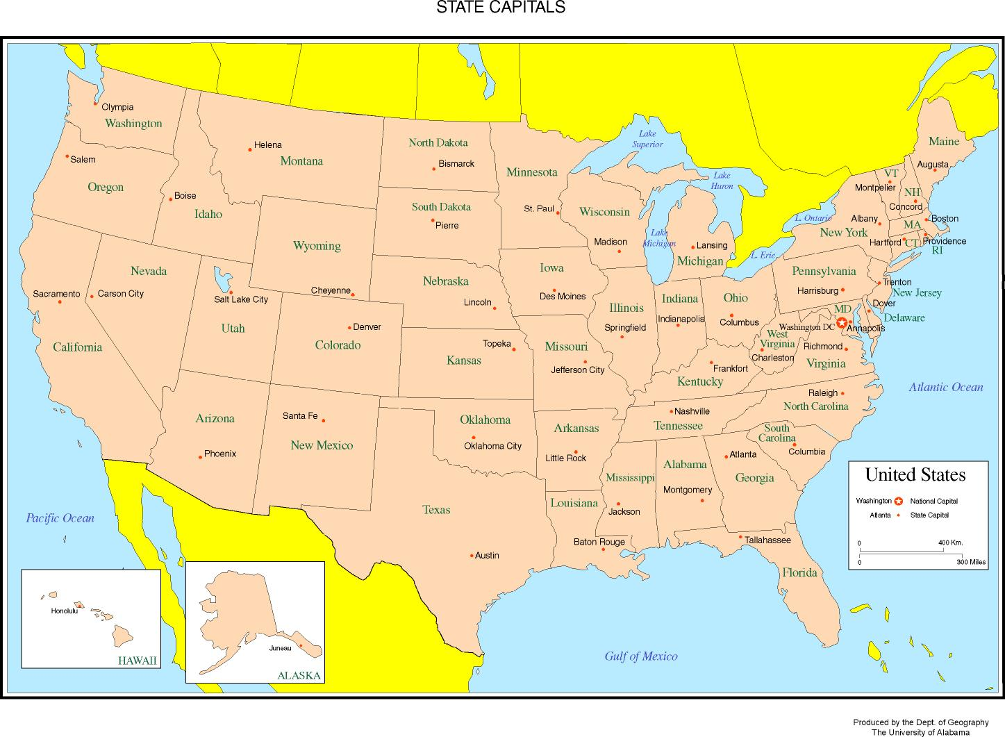 United States Labeled Map - Map of usa with states and capitals and major cities
