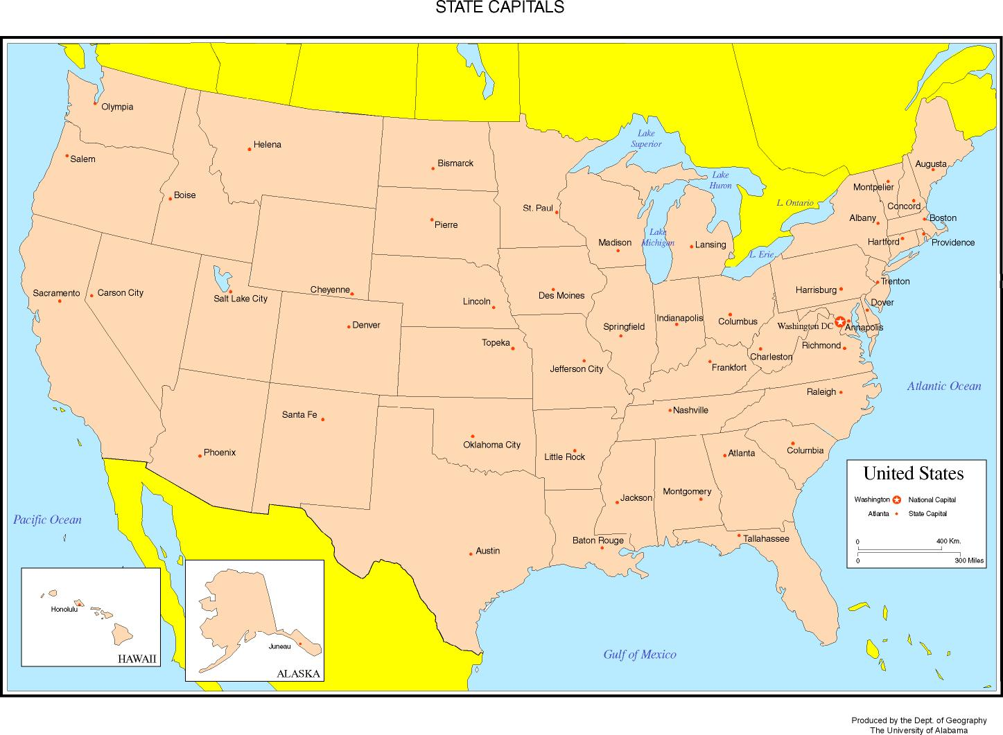 United States Colored Map - Map of the usa states labeled