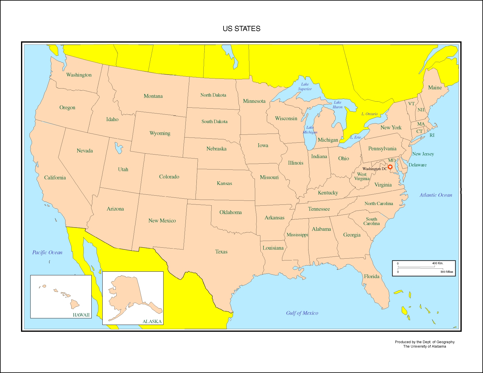 United States Map Labeled United States Labeled Map