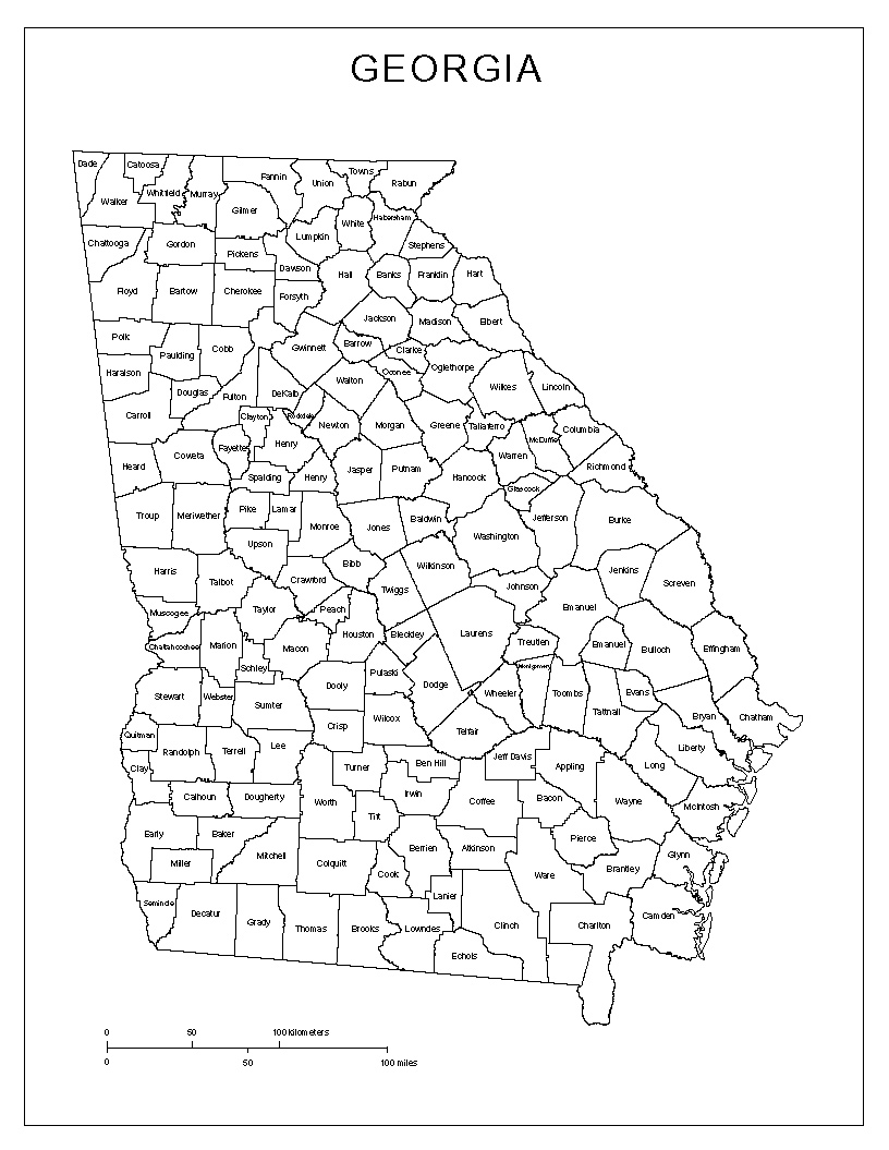 Georgia Labeled Map - Counties of georgia map