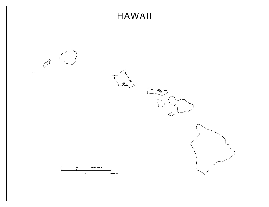 Hawaii Blank Map