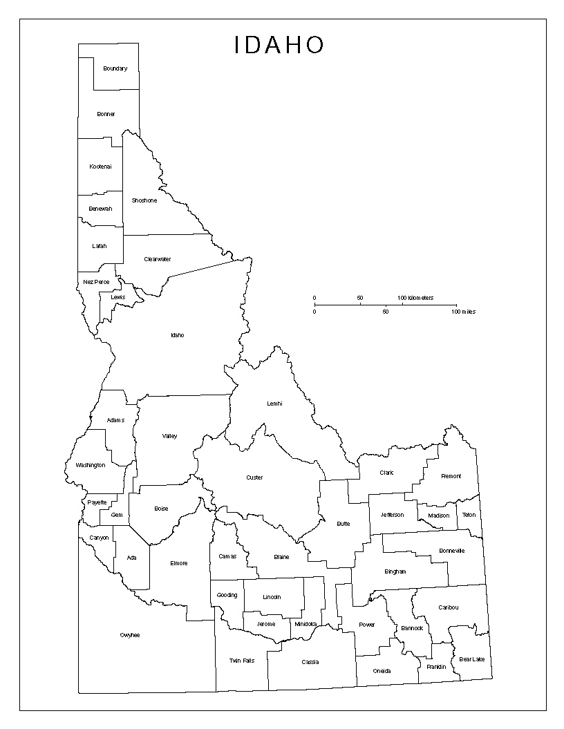 Idaho Map By County.Idaho Labeled Map