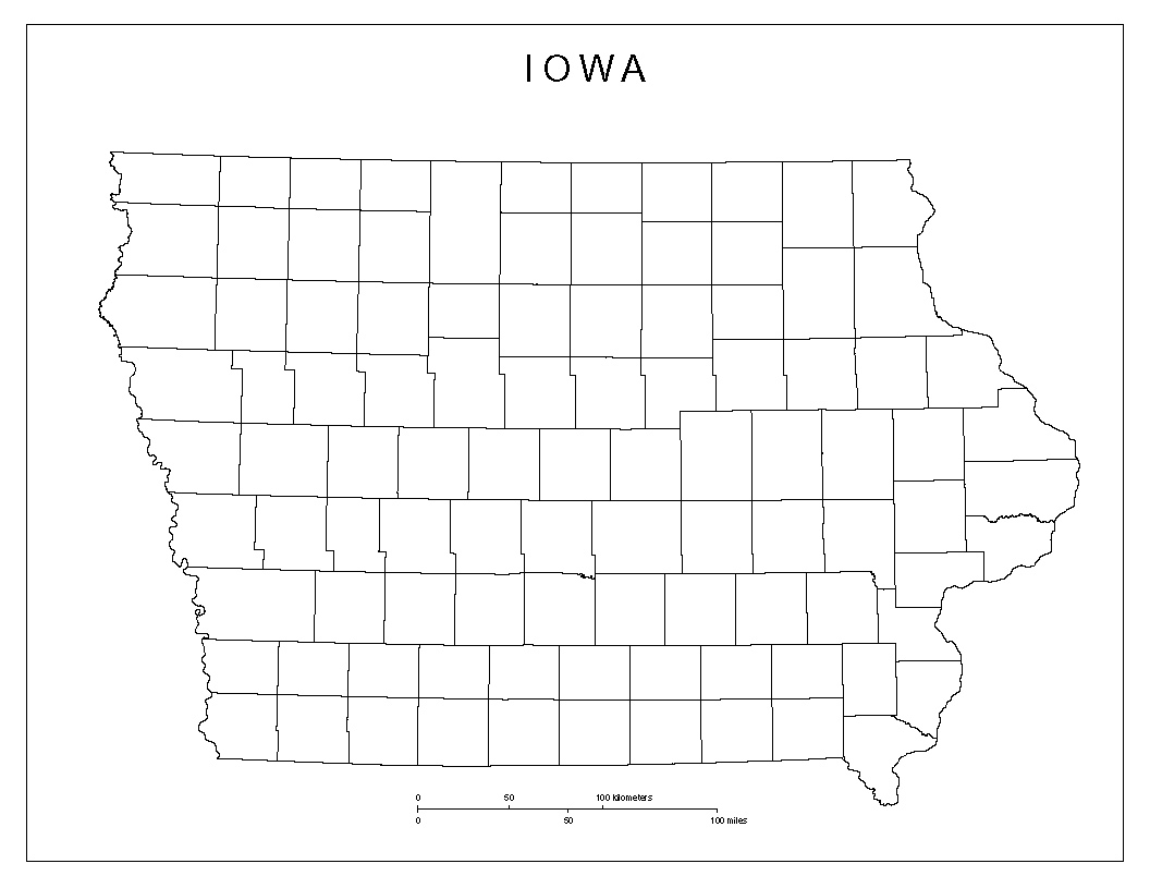 Blank county Map of Iowa