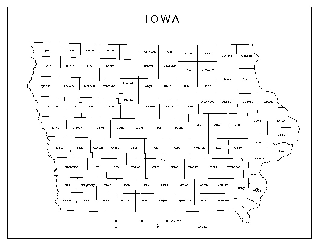 Iowa Labeled Map - State of iowa map