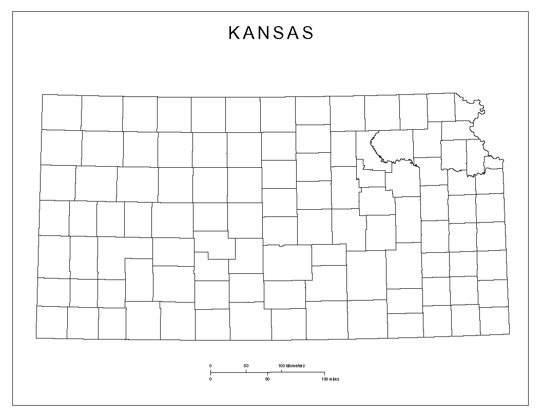 graphic regarding Kansas County Map Printable known as Kansas Blank Map