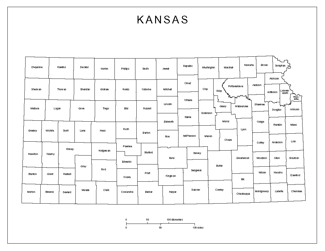 Kansas Labeled Map Us State Map Kansas