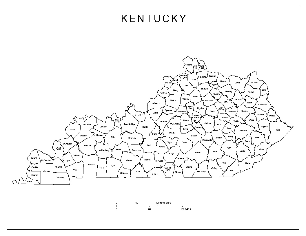Kentucky Labeled Map