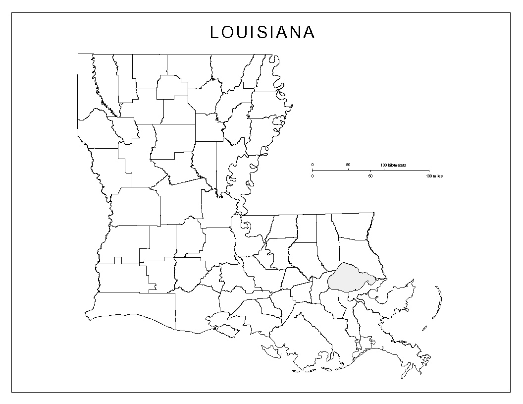 photo regarding Printable Map of Louisiana named Louisiana Blank Map