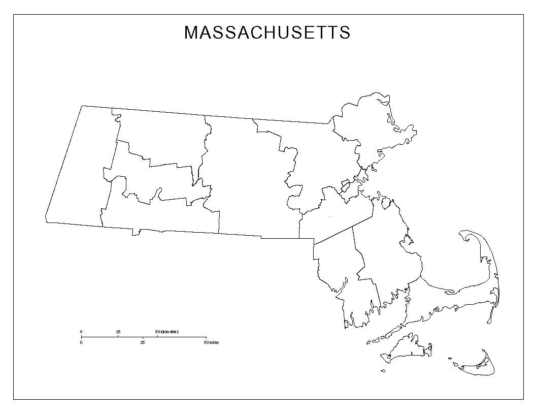 Massachusetts Blank Map - Blank us counties map