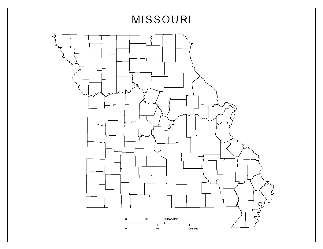 Missouri Blank Map - Missouri state map with cities