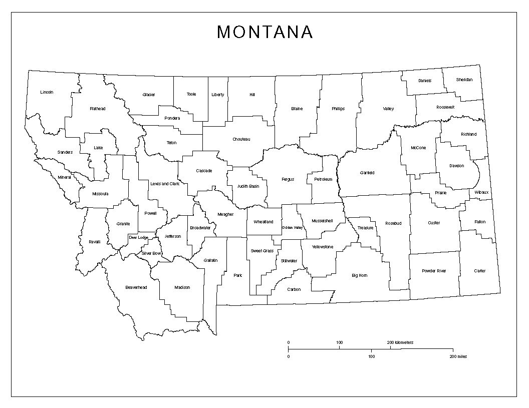 Montana Labeled Map