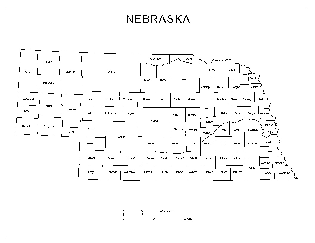 Nebraska Labeled Map - Nebraska on the us map