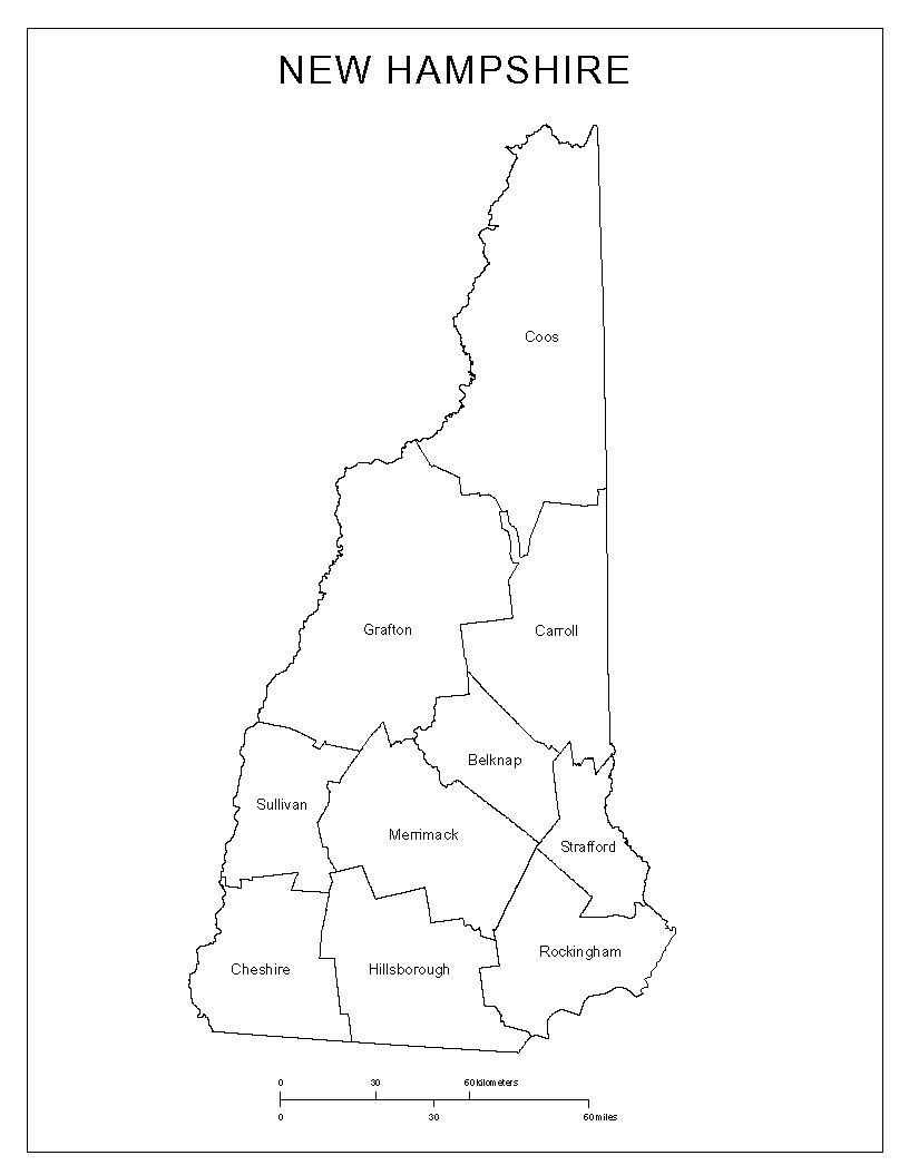 New Hampshire Labeled Map - State of nh map