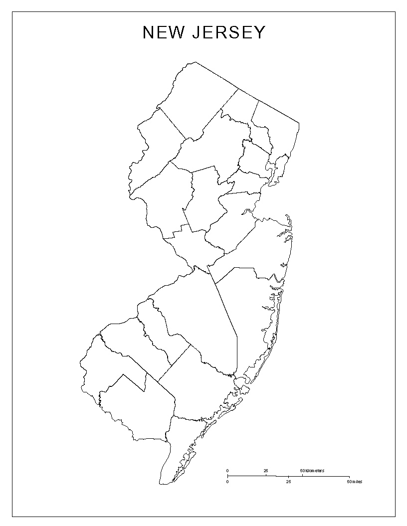 Blank county Map of New Jersey