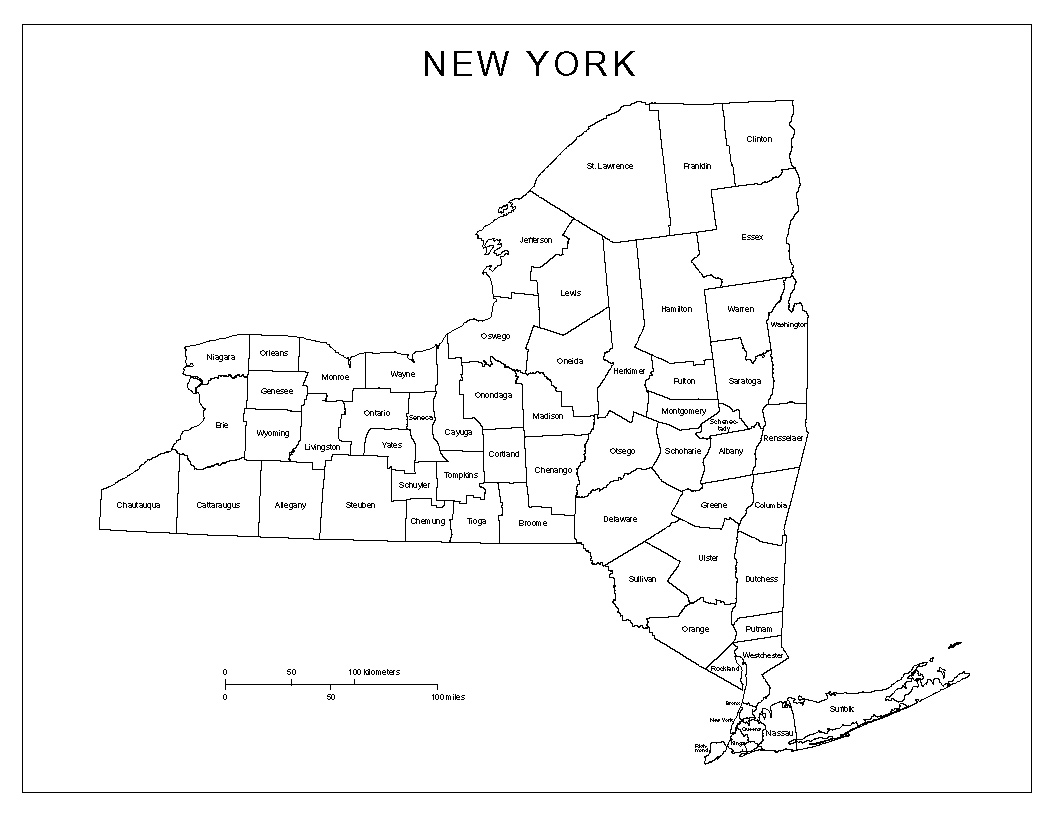 County Map Of New York State Labeled county Map of New York County Map Of New York State