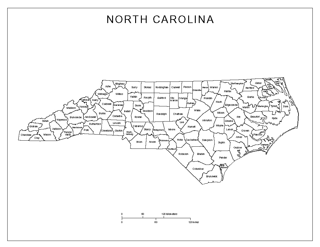 Labeled county Map of North Carolina