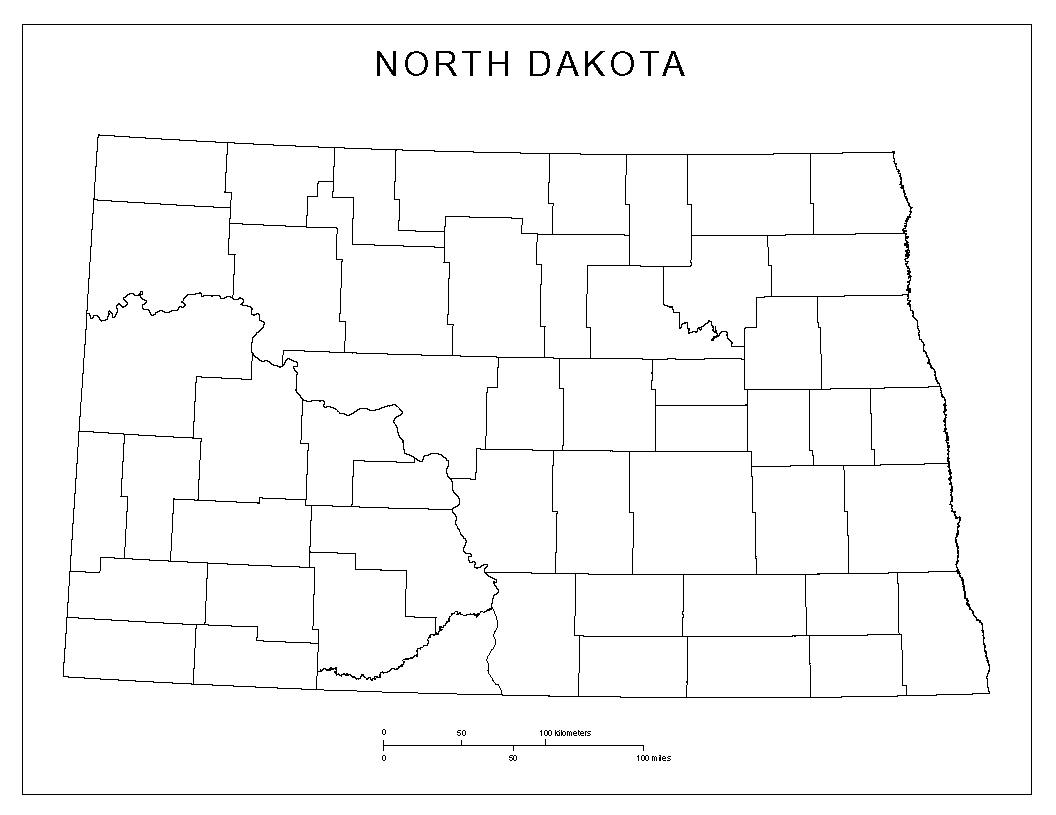 North Dakota Blank Map
