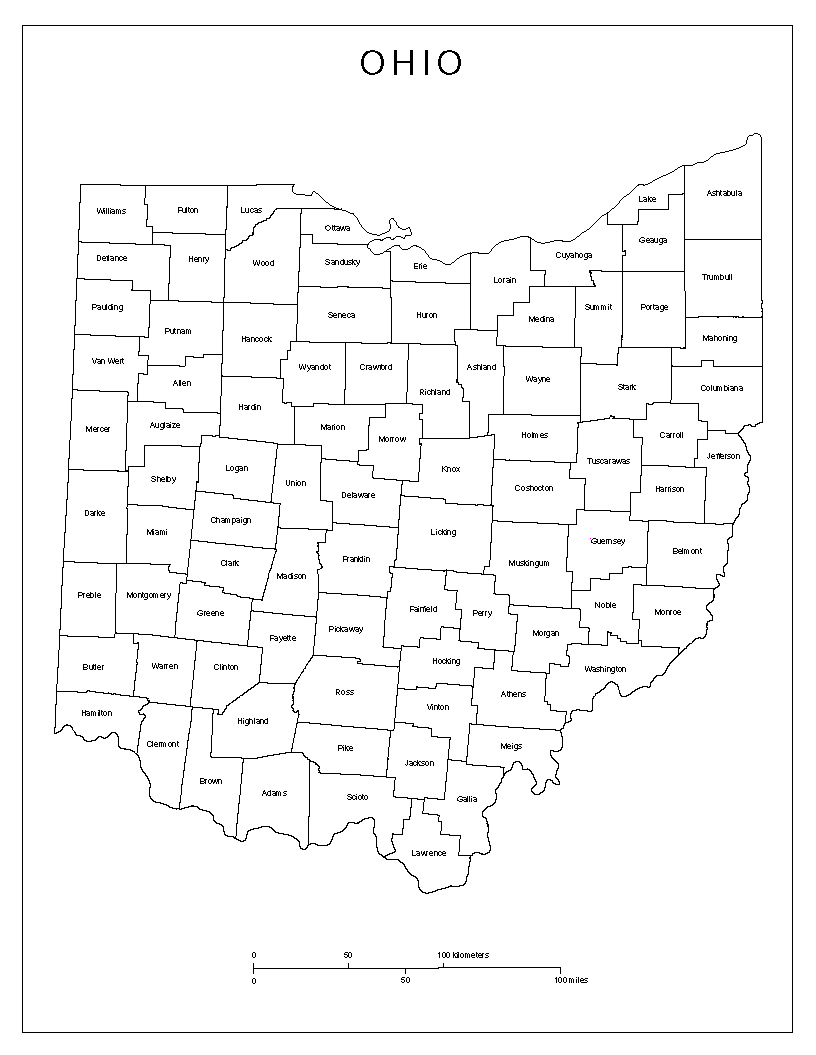 Ohio Labeled Map County Map Showing County Names
