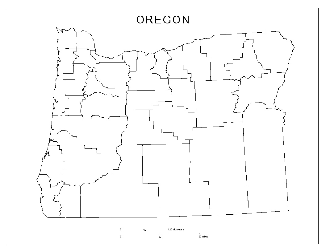 Blank county Map of Oregon on