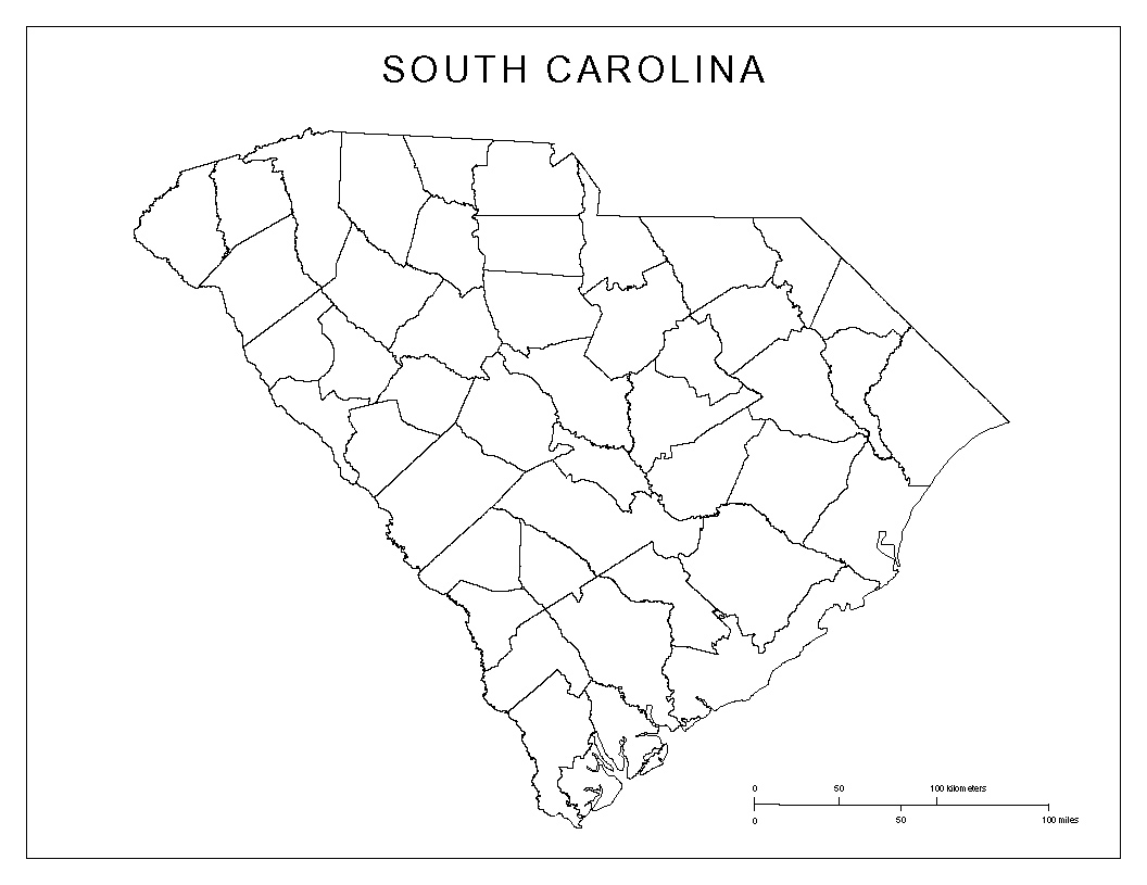 image regarding Kansas County Map Printable known as South Carolina Blank Map
