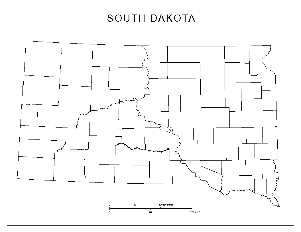 South Dakota Blank Map