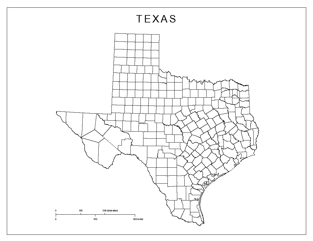 Blank county Map of Texas