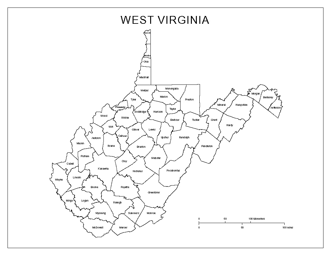 West Virginia Labeled Map - West virginia map showing counties