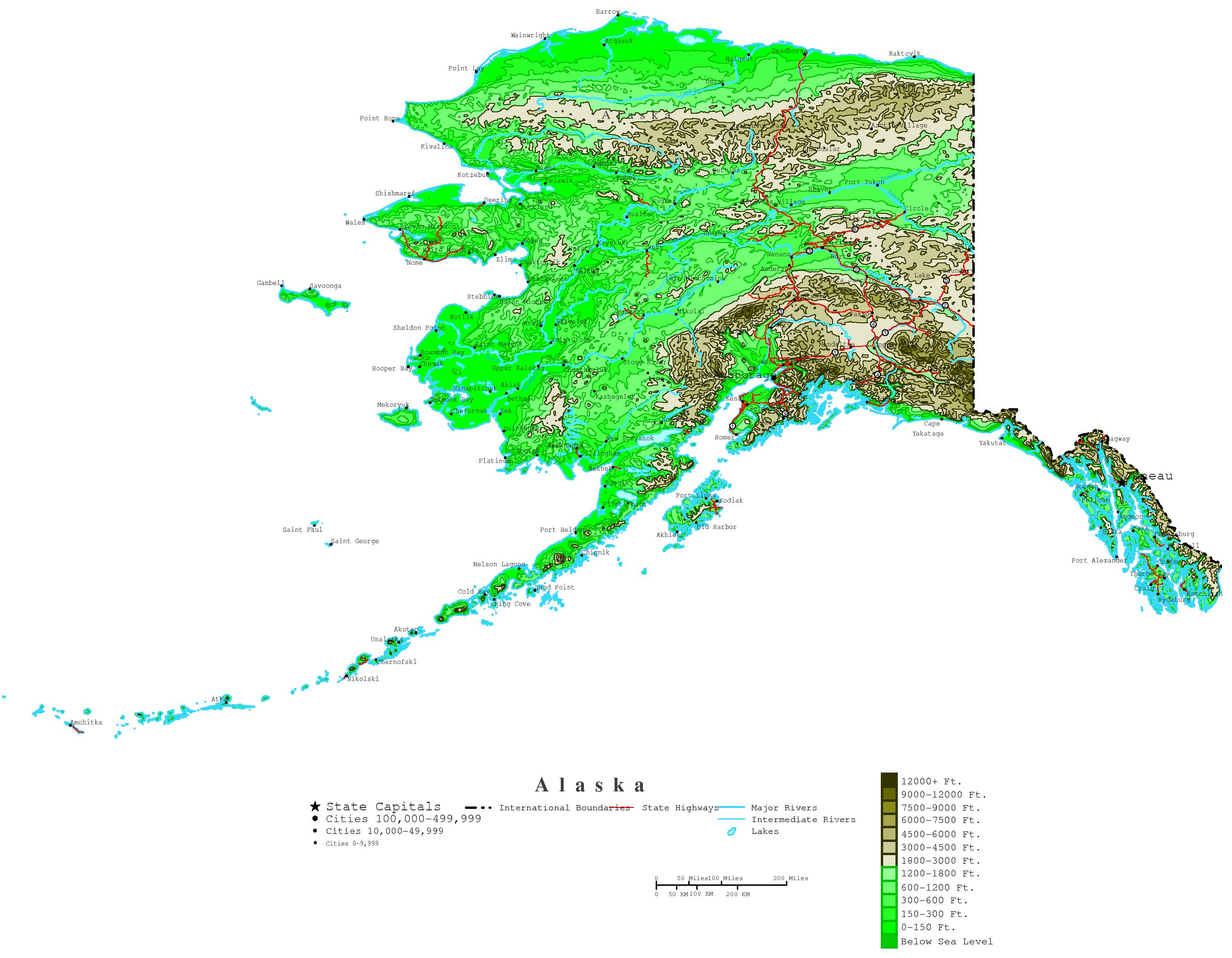 image regarding Printable Maps of Alaska called Alaska Contour Map