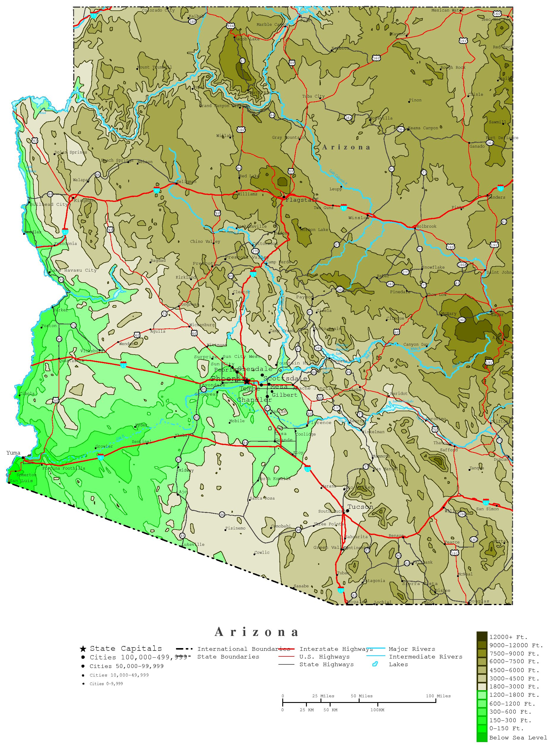 Arizona Contour Map - Map of arizona counties and cities