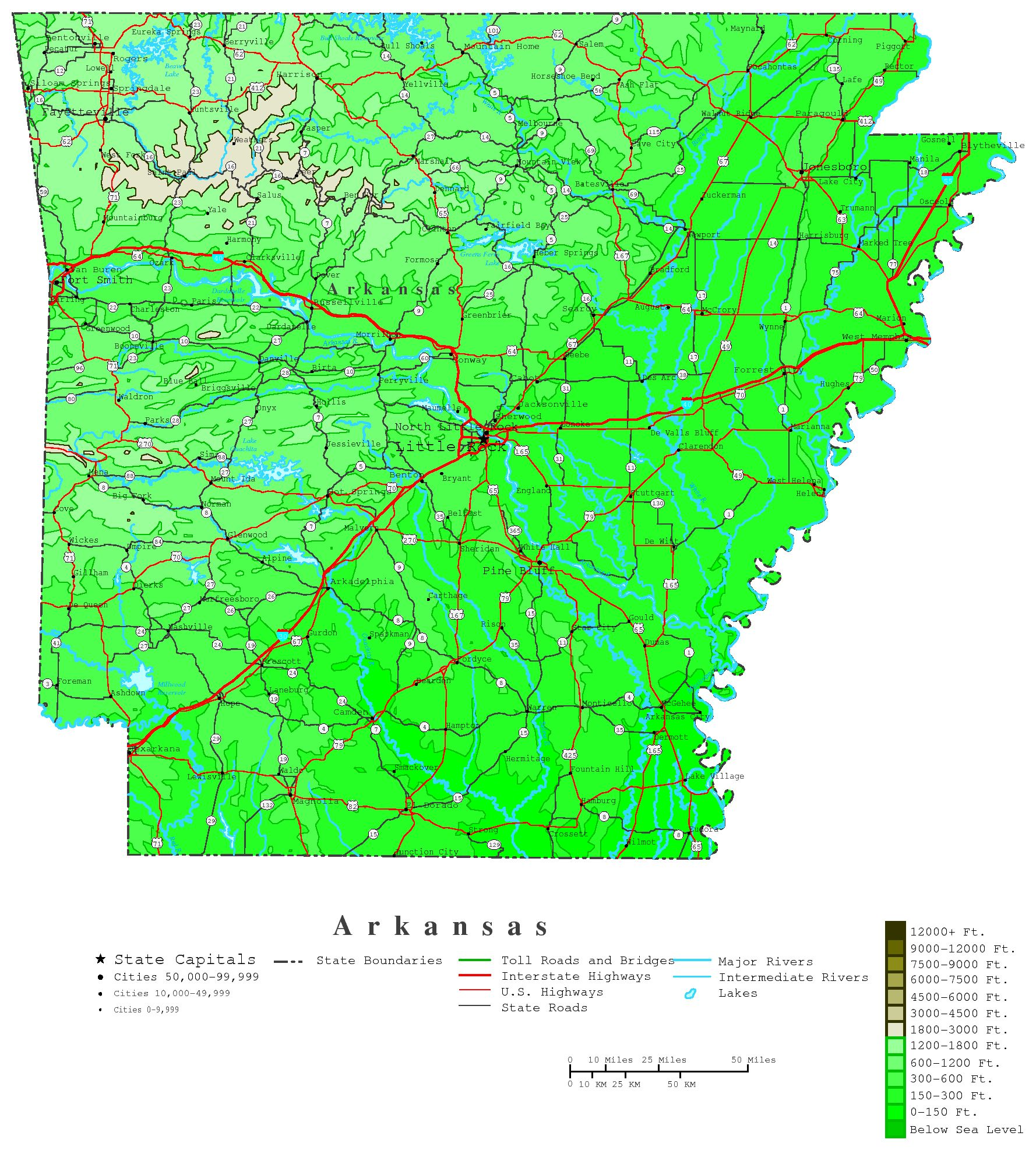 Arkansas Contour Map - Map of us arkansas