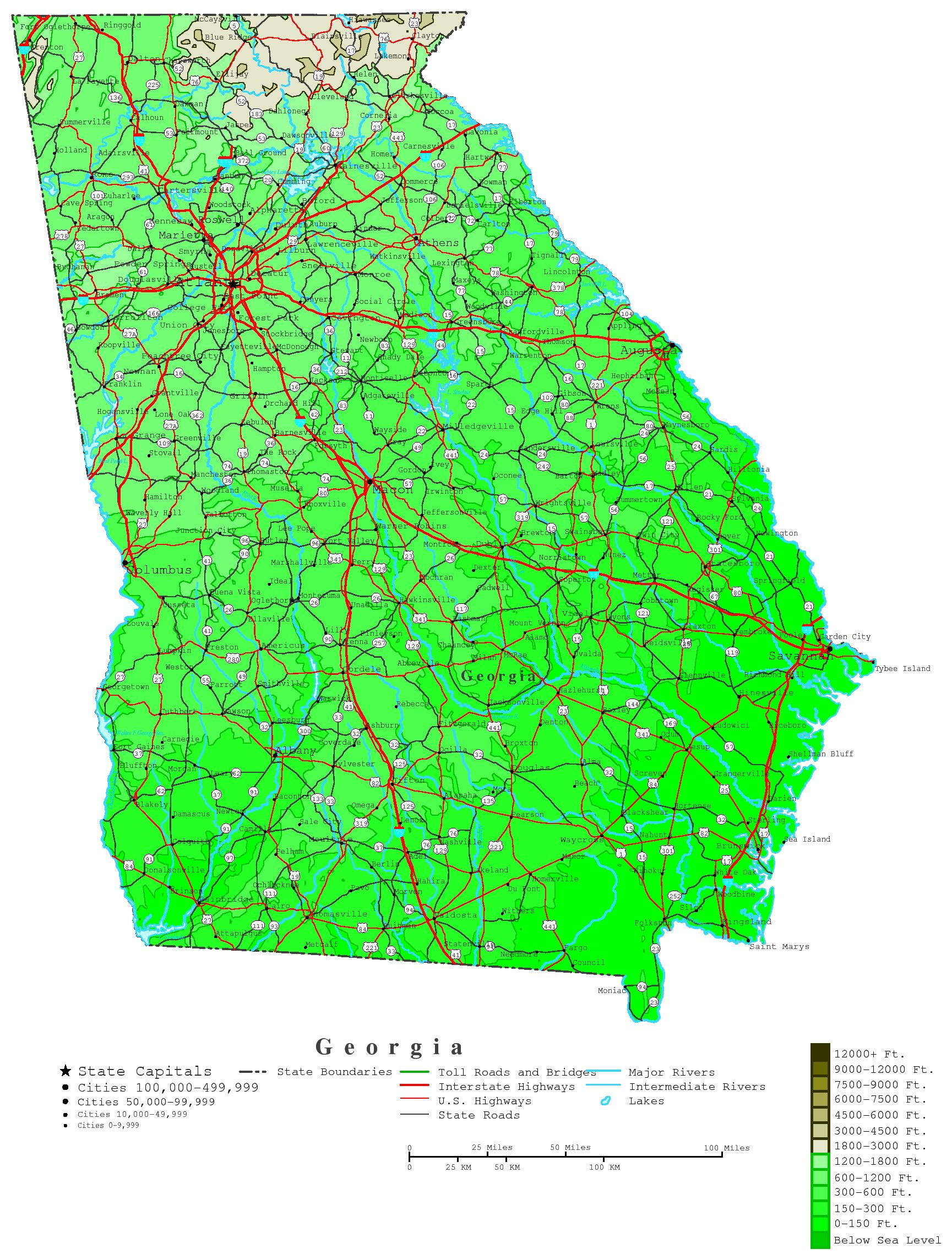 Georgia Contour Map - Georgia maps