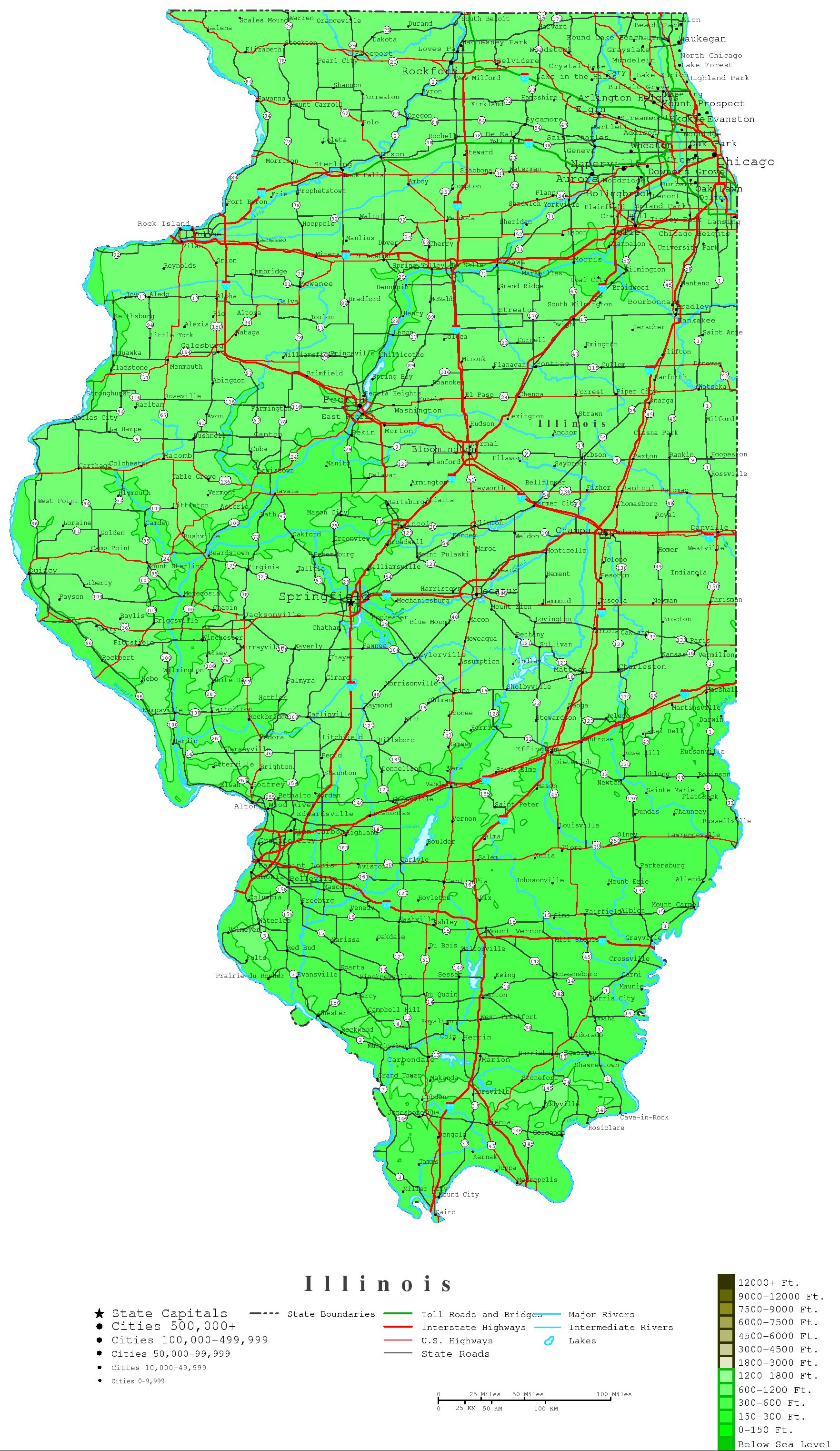 Illinois Contour Map - Map of the state of illinois