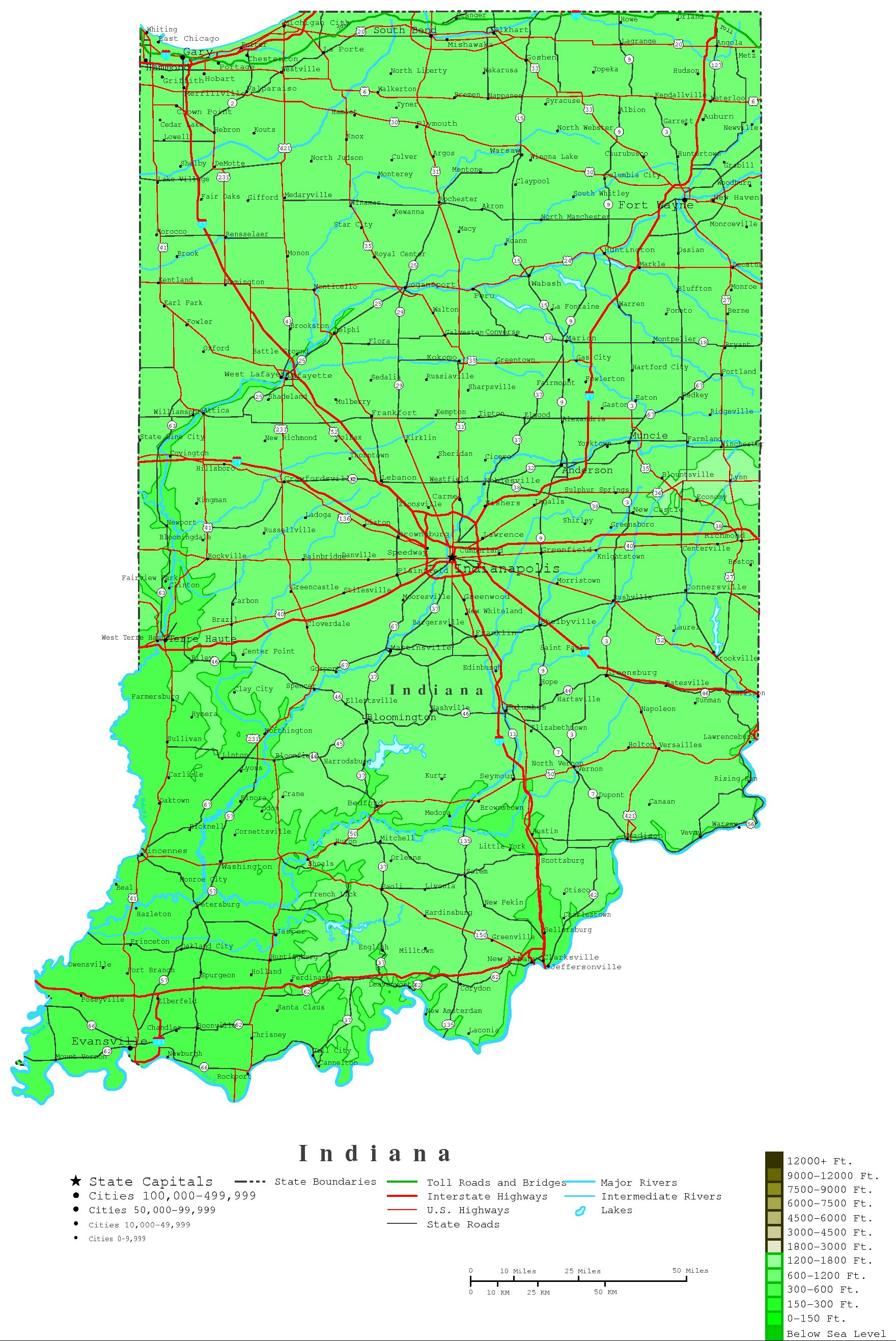Indiana Contour Map - Map of state of indiana