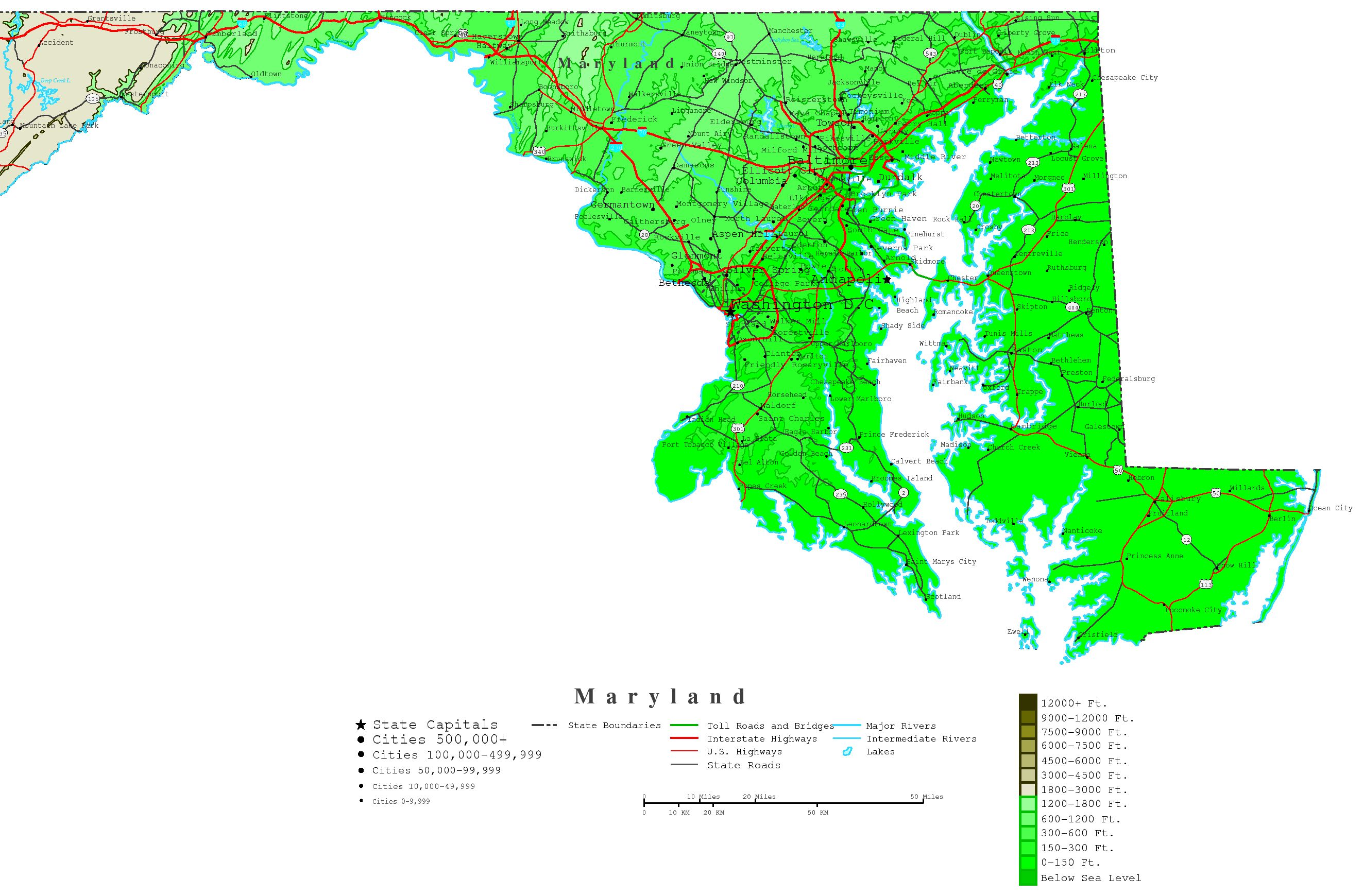 Maryland Map Online Maps Of Maryland State - Maryland printable map